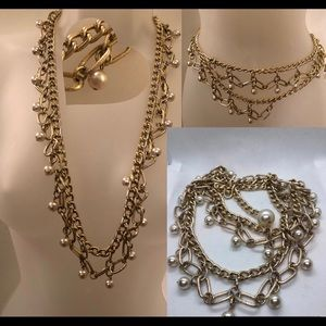 Accessories - Versatile Necklace/Belt in gold tone w/faux pearls